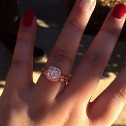 Kate L verified customer review of 1.25 ctw Art Deco Halo Wedding Set - Rose Gold