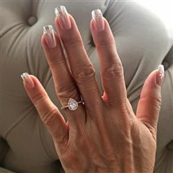 Catherine D verified customer review of 1 ctw Classic Pear Halo Ring - Rose GP