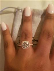 Grecia l. verified customer review of 2.25 ctw Square Halo Ring - Rose GP