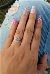 Erica verified customer review of 2.25 ctw Square Halo Ring - Rose GP