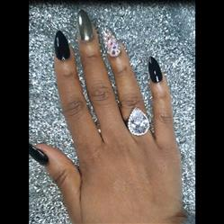 10 ctw Hollywood Pear Halo Ring - Final Sale