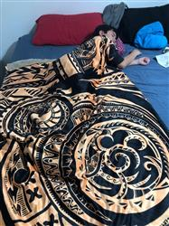 Llewellyn F. verified customer review of Polynesian Hooded Blanket