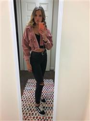 Claudia G. verified customer review of Josie Mauve Corduroy Crop Jacket