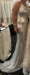 christina c. verified customer review of Honey Couture BETHANY Silver Cowl Neckline Sequin Formal Gown Dress