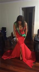 Isy B. verified customer review of Honey Couture HANNAH Red Strapless Princess w Slit Evening Gown Dress