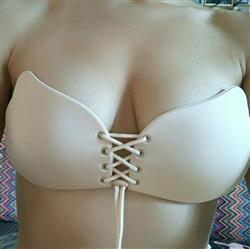 Strapless lace up adhesive bra