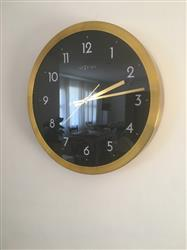 NeXtime Arabic Wall Clock, Gold and Black, 44cm