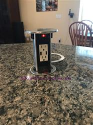Kitchen Counter Spill Proof Round Pop Up 15A USB Outlet, Stainless Steel