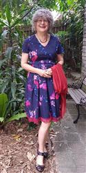 Julianne W. verified customer review of Purple & Red Parrot Bow Tie V Neck Pleated A Line Dress with Sleeves