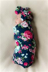 Andrea L. verified customer review of Navy Blue Floral Swaddle Set