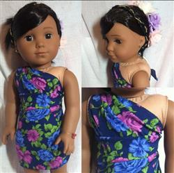 Tropical Wrap and Tie Sarong Dress 18 Doll Clothes Pattern