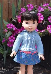Eyelet Cable Cardigan 14.5 Inch Doll Clothes Knitting Pattern