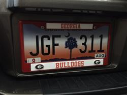 Georgia Bulldogs Metal License Plate Frame - Red