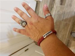 Evelyn Torres verified customer review of Red Leather CZ