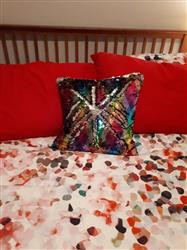 Sandra J. verified customer review of Rainbow & Silver Reversible Sequin Glam Pillow *Limited Edition*