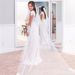 Rita verified customer review of Cathedral Length Soft Tulle Bridal Veil with Laces at the End and Light Pearl Beading VG1044