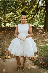 Short Modest Wedding Dress with Layered Ruffle Skirt | Dana