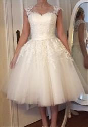 Indra A. verified customer review of Retro Vintage Short Tea Length Lace Wedding Dress | Clover
