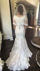 Hope  verified customer review of Modest Mermaid Lace Wedding Dress with Short Sleeves | Edna