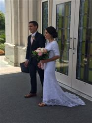 Elizabeth K. verified customer review of 2 Piece Modest Cotton Lace Wedding Dress with Short Sleeves | Lorelle