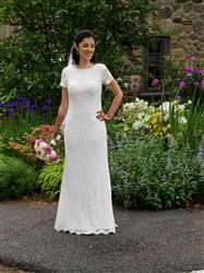 Mallika V. verified customer review of 2 Piece Modest Cotton Lace Wedding Dress with Short Sleeves | Lorelle