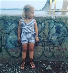 Kaitlyn Z. verified customer review of Gray & White Striped Romper