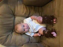 Sally W. verified customer review of Fringe Gladiator Barefoot Baby Sandals - Brown