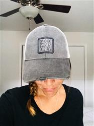 Jessica H. verified customer review of Good Vibes Only Distressed Trucker Hat