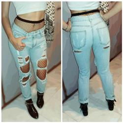 Loose Ripped Off Cotton Ladies Denim
