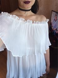 Pleated Double Layer Ruffle Sexy Women Tube Top Blouse