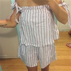 White Strapless Stripe Women Summer Romper Set