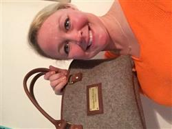 Kathryn J. verified customer review of Grey Wool Handbag - Brown Leather
