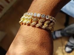Deepak verified customer review of 14K Gold 12mm Iced Out Cuban and 5mm Tennis Bracelet Set