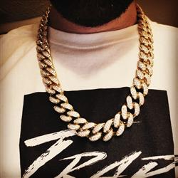 Kyle P. verified customer review of 19mm 14K Gold Iced Out Cuban Chain