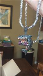 Eamonn V. verified customer review of [Limited Edition]White Gold Iced Out Shark Boxing Necklace
