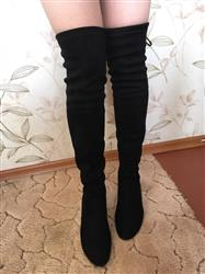 Katie M. Marble verified customer review of Low Square Heel Over The Knee Boots