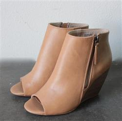 Edgar l. verified customer review of bc footwear rebellion peep toe wedge heel booties - taupe