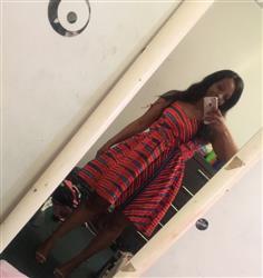 Zakiyah B. verified customer review of Halima African Print Spaghetti Strap Dress (Coral/Blue)- Clearance