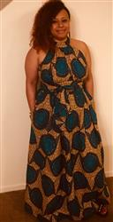 Tamara C. verified customer review of Ronke African Print Halter Maxi Dress (Tan/Teal)