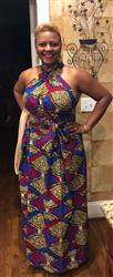 Tisha B. verified customer review of Ronke African Print Halter Maxi Dress (Red/Blue/Tan)