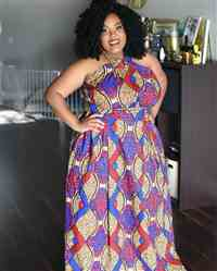 Taniyah S. verified customer review of Ronke African Print Halter Maxi Dress (Red/Blue/Tan)