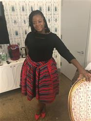 Cherise F. verified customer review of Amsa African Print Midi Skirt with Sash (Red/Grey)