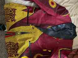 Andre F. verified customer review of Rammy Men's African Print Blazer (Burgundy/Gold/Black)