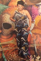 leguya b. verified customer review of Ose African Print One Shoulder Jumpsuit with Stretch (Yellow Blue Geometric)-Clearance