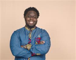 Janeil J. verified customer review of Kano Men's African Print Long Sleeve Denim Mandarin Shirt (Red Blue Tan)