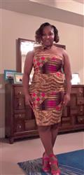 Jenniver S. verified customer review of Amaka African Print Asymmetric Bodycon Dress (Gold/Pink Patchwork)