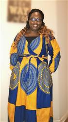 SHANIQUE C. verified customer review of Genet African Print Faux Wrap Maxi Dress (Yellow Blue Circles)