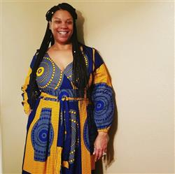 SAMMIE C. verified customer review of Genet African Print Faux Wrap Maxi Dress (Yellow Blue Circles)