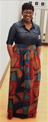 Zaneta B. verified customer review of Uma Chic African Print Maxi Skirt (Red/Orange/Blue)- Clearance