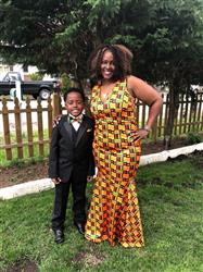 Falandria B. verified customer review of Zahra African Print V-Neck Formal Gown (Black/Yellow Kente)